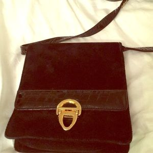 Vintage black suede evening bag